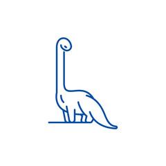 Diplodocus line concept icon. Diplodocus flat  vector website sign, outline symbol, illustration.