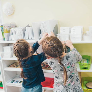 Montessori Education. Montessori School. Learning materials in a montessori methodology school. Preschool.