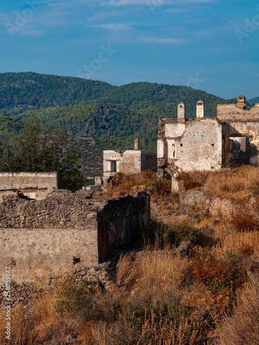 View of abandoned houses at village Kayakoy near Fethiye, Turkey