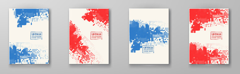 Halftone illustration set. Red blue color Brochure.