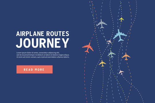 Colorful Airplane line path. Airplane routes of journey banner template.