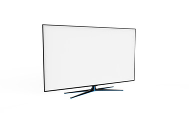 Realistic TV screen. Modern stylish lcd panel, led type. Large computer monitor display mockup. Blank television template. 3dillustration