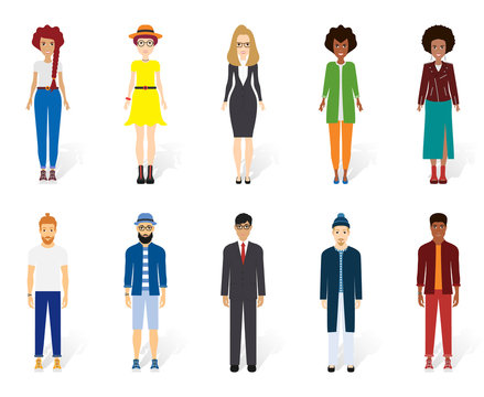 Colorful vector people collection. Vector design of different characters including man and women. Flat character design icon set. Eps 10