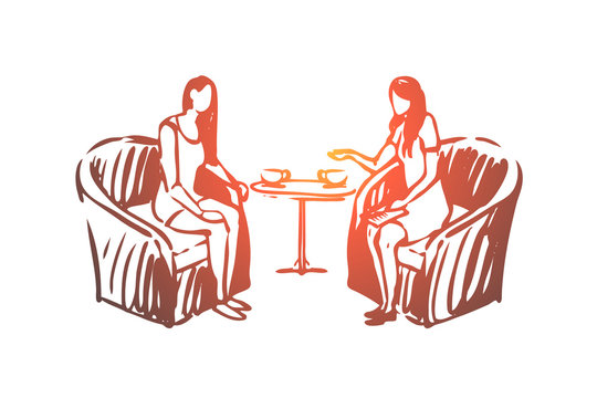 Woman, psychologist, consultation, listening, professional concept. Hand drawn isolated vector.