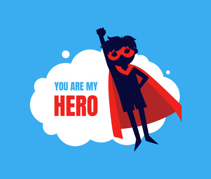 You My Hero Banner, Cute Boy in Superhero Costume and Mask Flying in Sky Vector Illustration