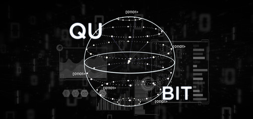 Quantum computing concept with qubit icon 3d rendering