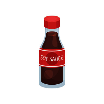Soy sauce in bottle on white background.