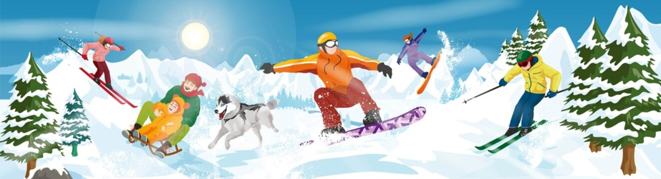 Winter sports on the mountain
