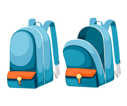 Colorful opened and closed school bags. Empty rucksack. Backpack with zippers. Cartoon design. Flat vector illustration isolated on white background