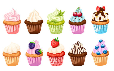 Collection of cupcakes with different ingredients. Set of sweet cakes. Colorful dessert. Flat vector illustration isolated on white background