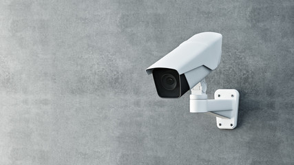 Security camera on wall 3D render.