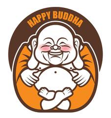 Cute Chubby Happy Laughing Buddha character cartoon. Vector cartoon illustration. Religion