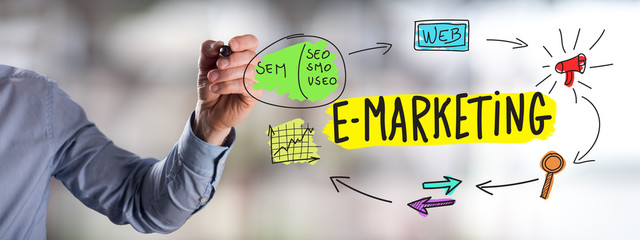 E-marketing concept drawn by a man