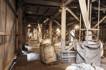 Big bag warehouse of manganese dust captured by the gas cleaning system in the metallurgical industry for recycled