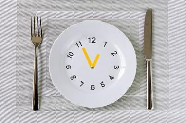 Essen, Uhr, Teller, Ernährung, Intervallessen