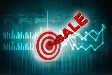 3d illustration sale target arrow