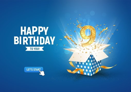 9 th years anniversary banner with open burst gift box. Template ninth birthday celebration and abstract text on blue background vector illustration