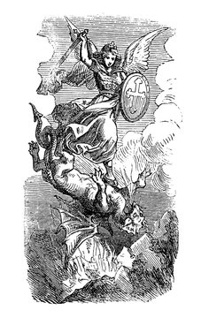 Vintage antique illustration and line drawing or engraving of biblical Archangel Michael fighting and defeating Satan as dragon. Revelation 12:7-9.