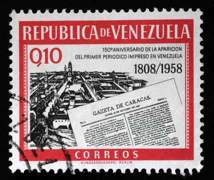 Stamp printed in Venezuela shows Gazeta de Caracas newspapers, circa 1960.