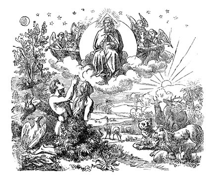 Vintage antique illustration and line drawing or engraving of biblical God and angels flying above the animals and Adam and Eve in Garden of Eden after the creation of the world.Genesis 1-2.