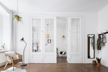 Scandinavian interior with glass door Fototapete