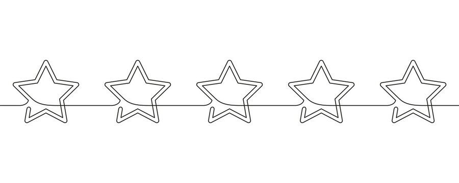 Continuous line drawing of stars decorative seamless border, Black and white minimalistic linear illustration made of one line, Five stars customer product rating review icon