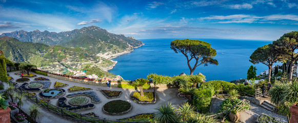 Sightseeing Villa Rufolo and it's gardens in Ravello mountaintop setting on Italy's most beautiful coastline, Ravello, Italy