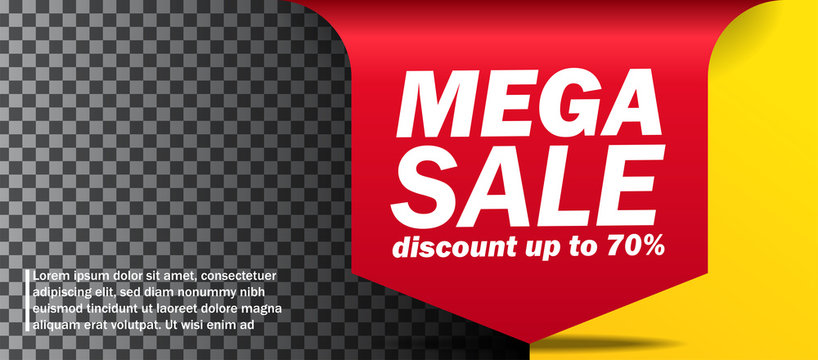 Mega Sale banner discount up to 70 % off arrow banner