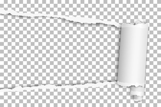 Torn elongated hole from left to right side in transparent sheet of paper with wrapped paper tear. Vector template design. Paper mockup.