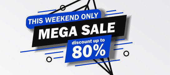 this weekend only Mega Sale banner discount up to 80 % off with blue and black color