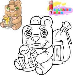 cartoon cute teddy bear eats honey, coloring book, funny illustration