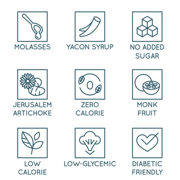 Vector set of logo design elements, badges and icons - alternative sweeteners. Natural substitutes for added sugar for healthy and organic products
