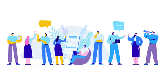 Wall Mural - Creative team characters flat vector horizontal banner. Discussion people. Team thinking and brainstorming.  Flat vector illustration.