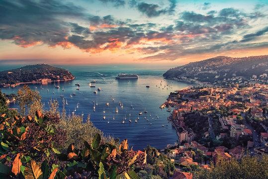 Villefranche Sur Mer coastline on the French Riviera
