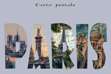 Wall Mural - Paris postcard with the main landmark