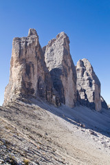 Dolomiten, Drei Zinnen, Nordseite, Südtirol, Italien