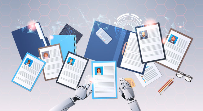 robot hands choosing cv profile businesspeople to hire curriculum vitae candidate job position top angle view artificial intelligence digital technology concept horizontal