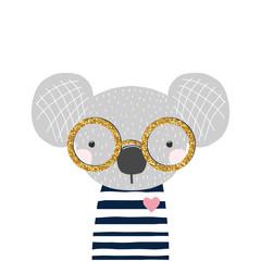 Cute little koala bear with gold glitter glasses. Kids fashion print. Vector hand drawn illustration.