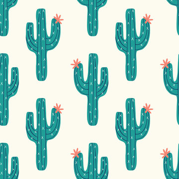 seamless cactus pattern with vector green cactus on a cream background