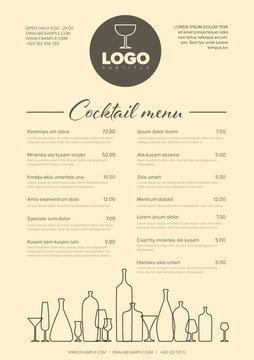 Modern minimalistic cocktail menu template