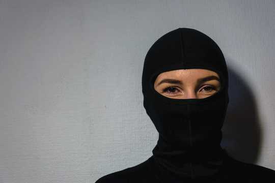 girl in a police mask