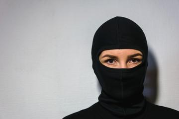 girl in a police mask - fototapety na wymiar