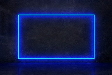 rectangle blue neon on a dark wall