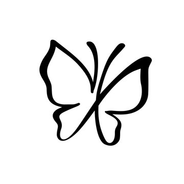 Hand drawn calligraphy logo of butterfly. Beauty cosmetic concept. Ecology vector element. Illustration eco icon design for wedding and Holiday Day, greeting card