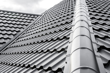 Obraz Construction of the roof of the house. Metal tiles. - fototapety do salonu