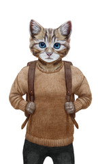 Animals dressed up in human clothing. Portrait of a Сat Boy. Hand-drawn illustration, digitally colored.
