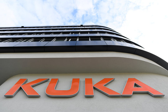 The logo of German manufacturer of industrial robots and automation solutions KUKA