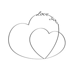 Hearts with an inscription love you. Vector sketch