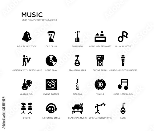 set of 20 black filled vector icons such as lute, music note black
