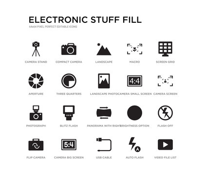 set of 20 black filled vector icons such as video file list, flash off, camera screen, screen grid, auto flash, usb cable, aperture, macro, landscape, compact camera. electronic stuff fill black
